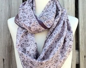 Infinity Scarf Beautiful Upcycled VINTAGE Silk Sari Circle Scarf in Sades of Lavender Purple Plum Flowers