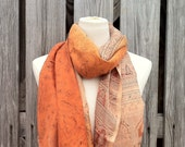 Beautiful Upcycled VINTAGE Silk Sari Scarf in Burnt Orange Peachy Tans Earth Tones EXTRA  LONG