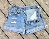 Jean Shorts LEVI'S 501 Button Fly High Waist Distressed Jean cutoffs Size US 6/7/8
