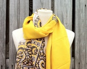 Beautiful Upcycled VINTAGE Silk Sari Scarf in Lovely Print SUNSHINE Yellow