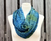 Infinity Scarf Beautiful Upcycled VINTAGE Silk Sari Circle Scarf in Wedgewood or Cerulean Blue