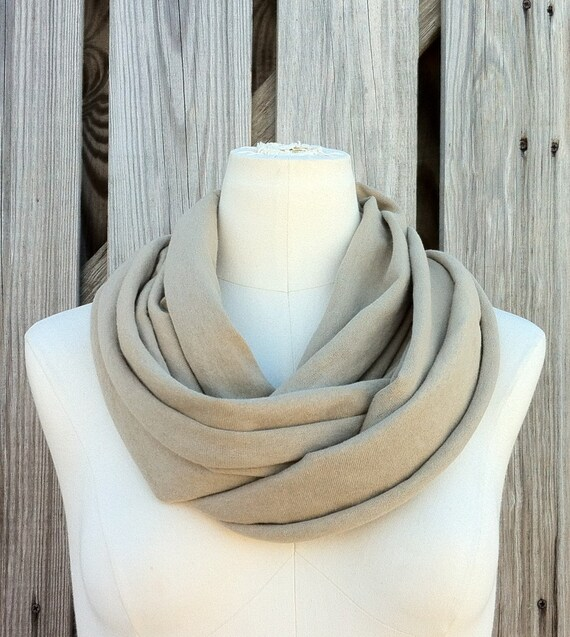 Infinity Scarf THE GRANDE All Season Circle Scarf in Atlantic Sand TAN Camel Available in Many Colors Unisex