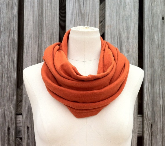 Sale - Infinity Scarf - The GRANDE All Season Loop Scarf PUMPKIN ORANGE