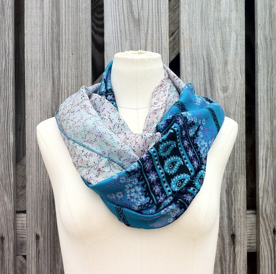 Infinity Scarf Beautiful Upcycled VINTAGE Silk Sari Circle Scarf in Turquoise Blue