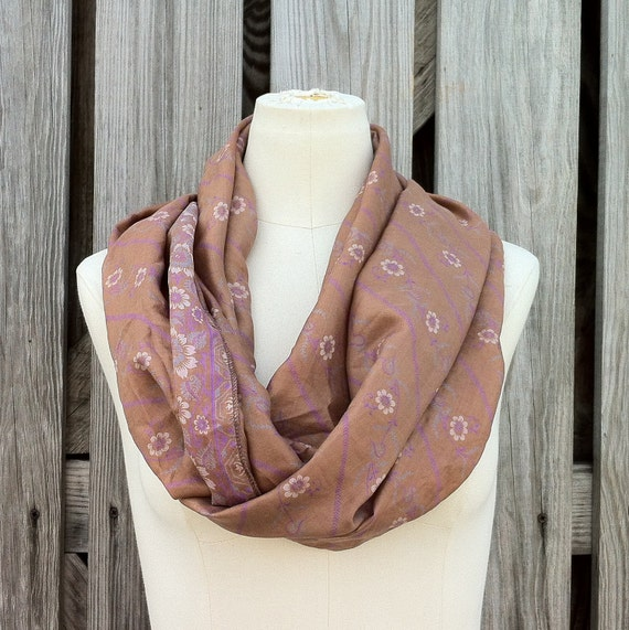 Infinity Scarf - Beautiful Upcycled VINTAGE SILK SARI Circle Scarf in Soft Rosy Tan and Lilac