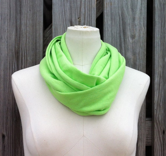 Sale - Infinity Scarf - The PETITE Loop Scarf in Key LIME GREEN Avaible in many Colors