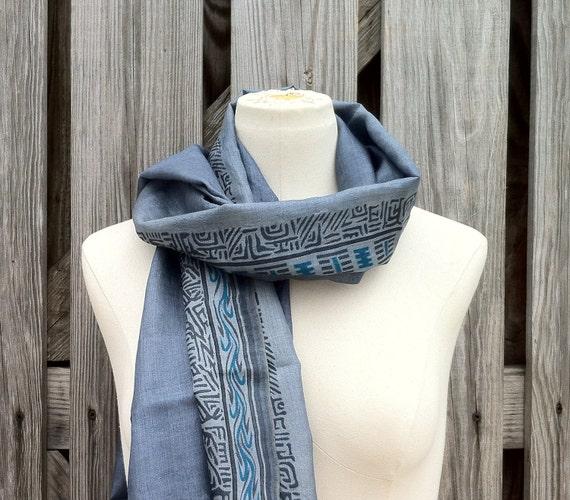 LONG Slik Scarf Beautiful Upcycled From VINTAGE Silk Sari Scarf Titanium Slate Blue UNISEX