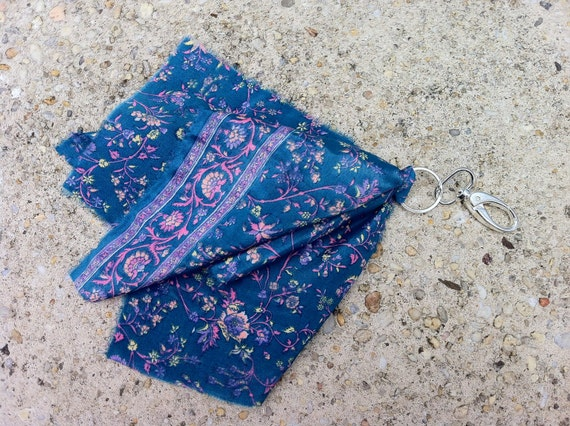 Pursenality Purse Scarf Purse Charm From Upcycled Vintage Silk Sari in Teal Floral Print  NEW ITEM