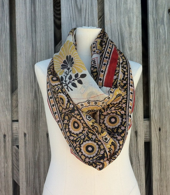 Infinity Scarf Beautiful Upcycled VINTAGE Silk Sari Circle Scarf in Yellow Red Black Flowers