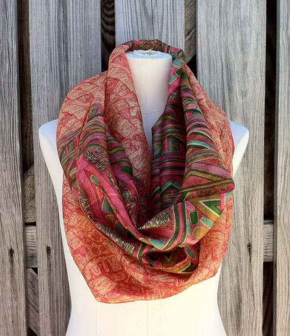 Infinity Scarf Beautiful Upcycled VINTAGE Sari Circle Scarf in Mod Vibrant Print Pink Green Peach Coral
