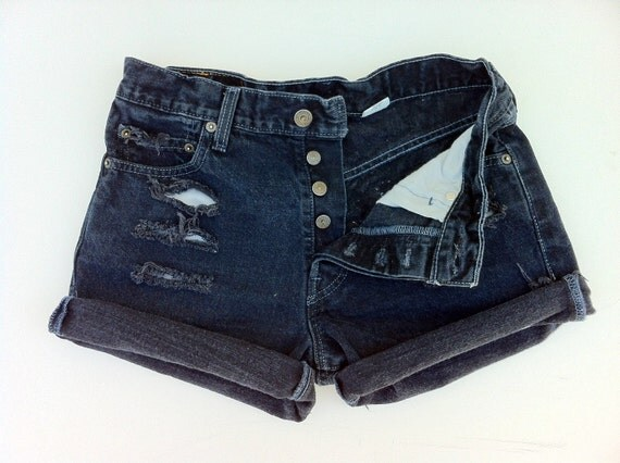 Jean Shorts LEVI'S 501 Button Fly High Waist Distressed Black Deep Navy Jean cutoffs Size US 6/7