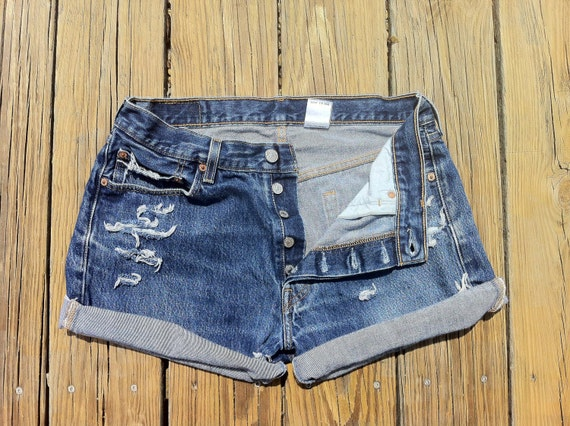 Jean Shorts LEVI'S 501 Button Fly High Waist Distressed Jean cutoffs Size 34