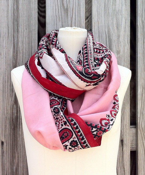 Infinity Scarf Beautiful Upcycled VINTAGE Silk Sari Circle Scarf in Brilliant Red Black and Pink