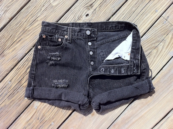 Jean Shorts High Waist VINTAGE LEVI'S 501 Black Button Fly Distressed Jean Cutoffs size US 5/6/7 or 30