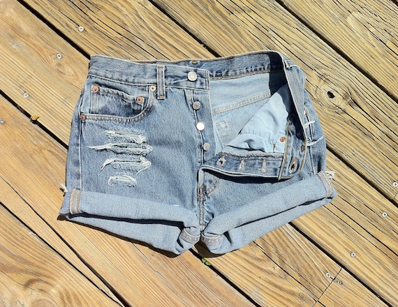 Jean Shorts High Waist VINTAGE LEVI'S 501 Button Fly Distressed Jean Cutoffs size US 2/3 or
