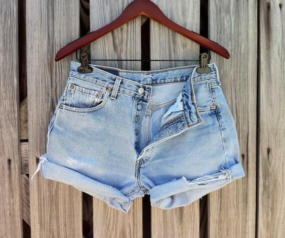 Jean Shorts High Waist VINTAGE LEVI'S 501 Jean Cutoffs size US 33 or 6/7/8