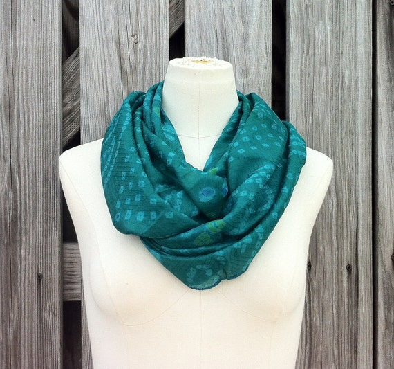 Infinity Scarf Beautiful Upcycled VINTAGE Silk Sari Circle Scarf in Vibrant Emerald/Teal Green