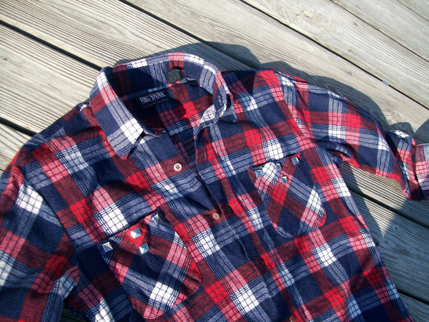 Flannel Shirt Red White And Blue Soft And Studded Unisex Size