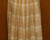 Vintage 1980s Perry Ellis Portfolio Taupe, Ivory, Tan Pleated Long Wool Skirt, Waist 32 inches