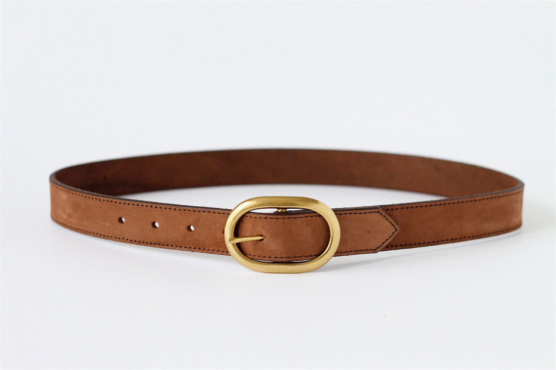 reserved vintage brown suede leather belt 31