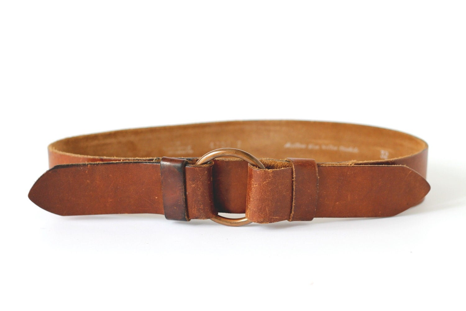 vintage wide brown leather belt
