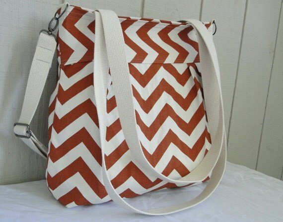 Pleated Shoulder Bag - Diaper Bag - Travel Bag - Village Rust and White Chevron - Large - Zipper, adjustable strap, tote handles
