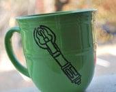 Doctor Who Sonic Screwdriver on Green Mug