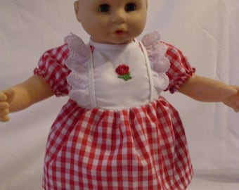 """17""""-18"""" Red and White Dress and Panty Set"""