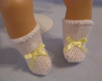 "10""-12"" White Booties with Yellow Bow"