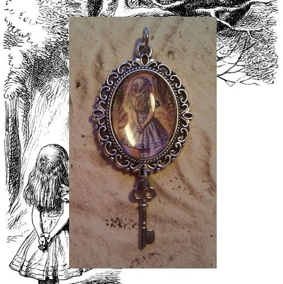 Alice in Wonderland Pendant with Key Charm