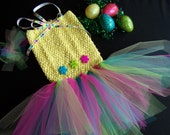 Dog TuTu Dress in yellow and pastel colors for Medium dogs-Hair bow included-dog tutu