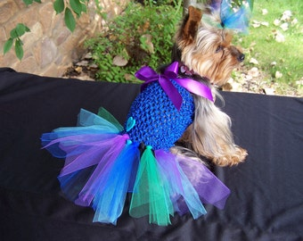 Dog Dress in Peacock colors Hair bow included LARGE size