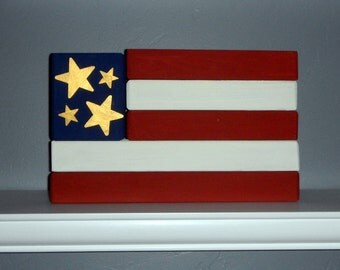 Wood Flag for Forth of July Decor
