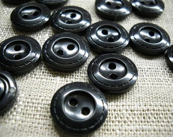 36 buttons- black- two holes- 15 mm