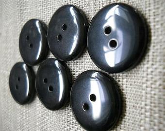 """15pc - 7/8""""  black buttons- plastic-  - 22mm"""