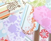 Set of 30, Modern Funky Feminine Tags for Gifts or Scrapbooking