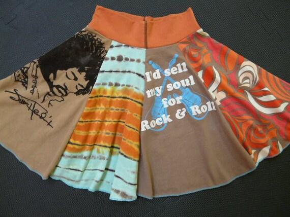 Jimi Hendrix Upcycled Girls Rock And Roll Twirly Skirt