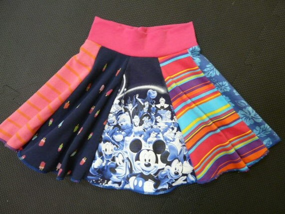 Upcycled recycled Disney Mickey Mouse t-shirt Twirly Skirt from TWINKLE size 3 4 5
