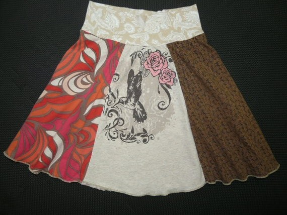 Hummingbird upcycled recycled t-shirt Hippie Skirt Girls 12 14 16 or Women XS Small