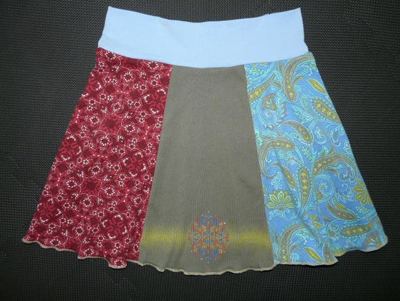 Perfect Little Hippie Skirt upcycle recycled t-shirt clothing for Women size Small Medium S M 4 6 8 10