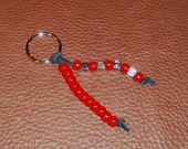 """Dexter Showtime TV Show """"WWDD"""" What Would Dexter Do - Red Beaded Leather Keychain"""
