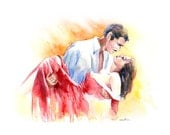 Gone with the Wind  - Scarlett and Rhett  - Watercolor art print