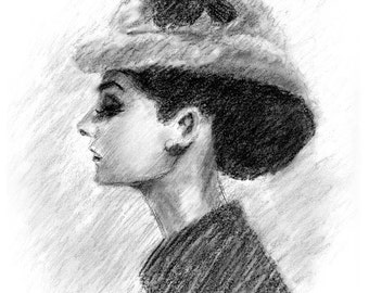 Audrey Hepburn in Black and White - Original Charcoal Drawing