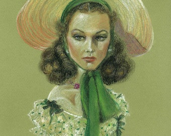 Gone with the Wind - Scarlett Ohara - Vivien Leigh - Pastel Drawing Painting print