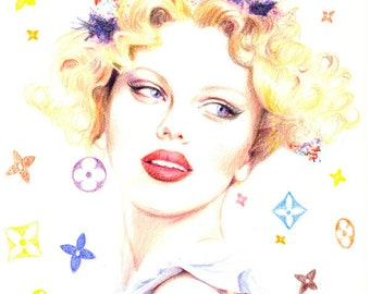 Colored pencil drawing Print - Louis Vuitton Snow