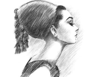 Audrey Hepburn Profile - Black and White Charcoal Drawing Print