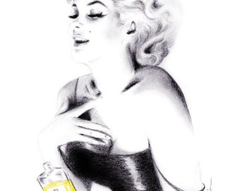 Pencil drawing - Portrait of Marilyn Monroe in Chanel No 5