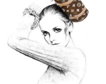 Fashion illustration art print - Louis Vuitton Papillon