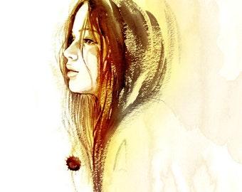 Jennifer Lawrence Katniss  Watercolor Portrait Print