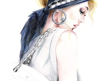 Colored Pencil Drawing, Fashion Illustration - Chanel Chic